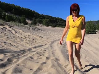 Going into the dunes with Audrey