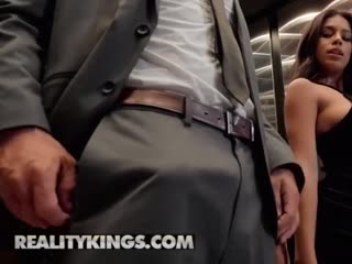Sneaky sex in the elevator