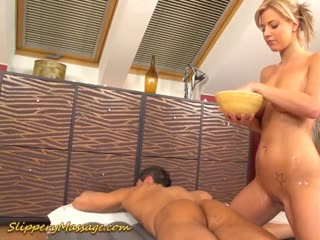 After such a nuru massage, that big cock slips right inside