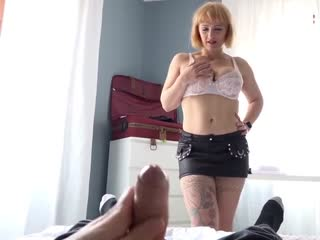 Mom Mary catches her jerking  son and finishes it