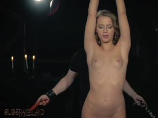 Teenage slave gets strokes with the whip