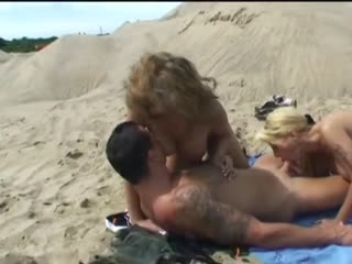 Mature women are thirsty for seed on the beach