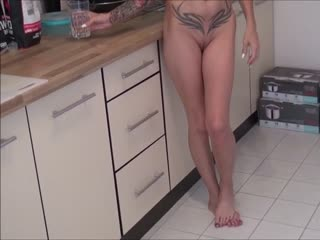 Mother caught naked in the kitchen and seduced by her stepson